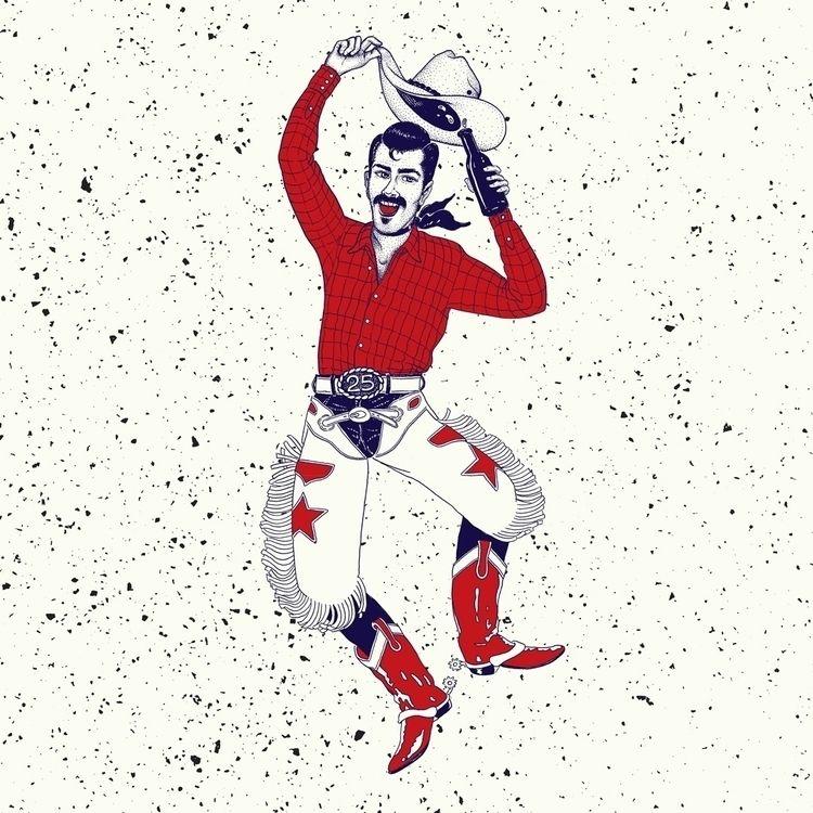 15x15 Party Cowboy illustration - kirkdamer | ello