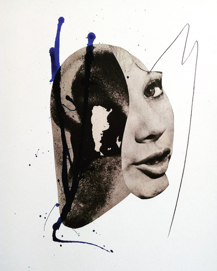 art, collage, potrait, ear, woman - sanchezisdead | ello