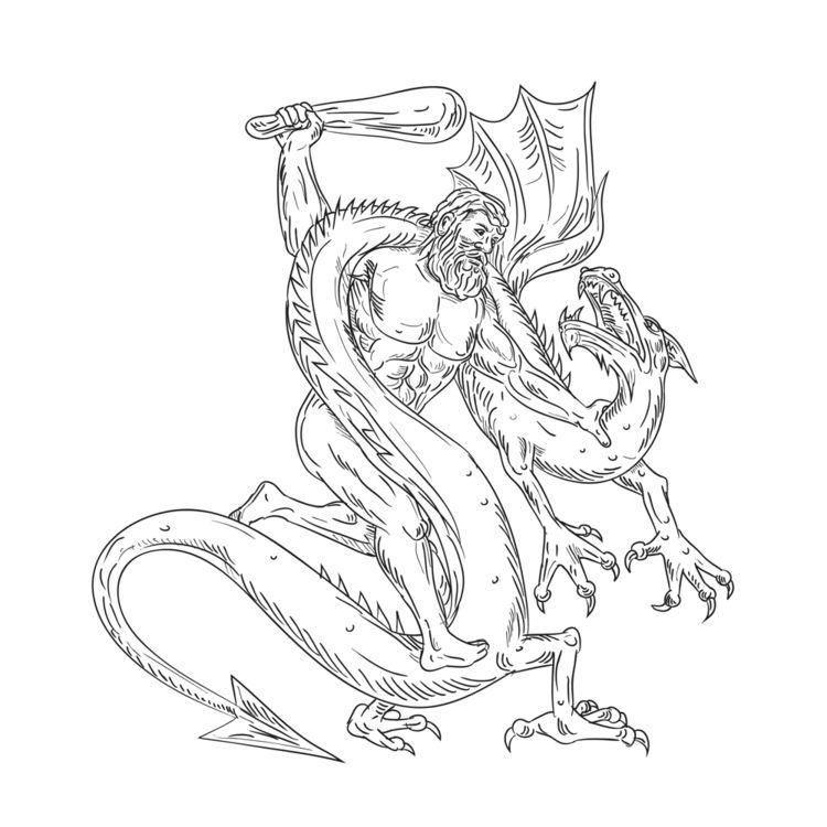 Hercules Grappling Dragon Drawi - patrimonio | ello