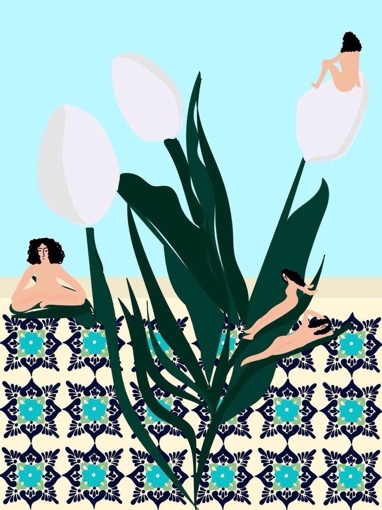 tulip, illustration, woman, art - sandramaher_ | ello