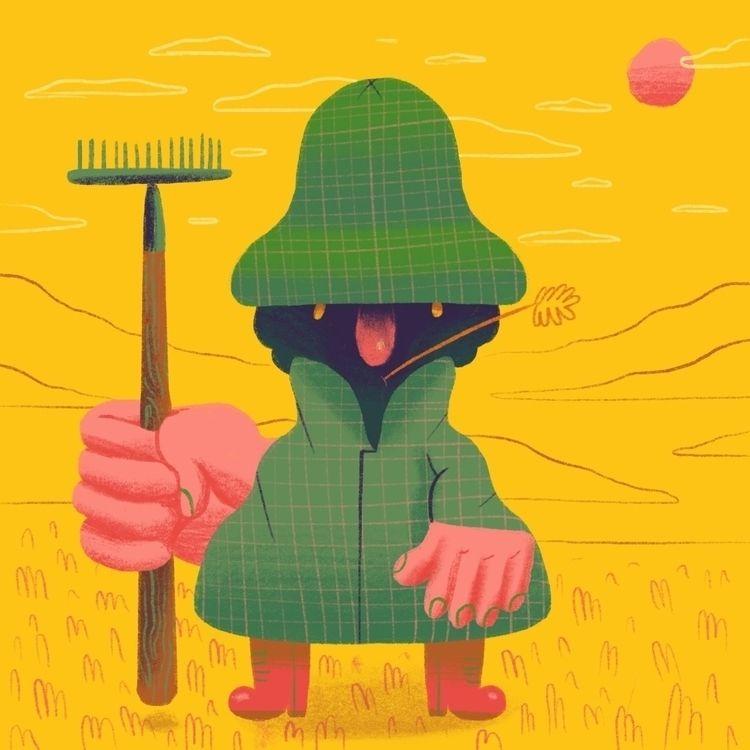 farmer stands land trusty rake - scott_balmer   ello