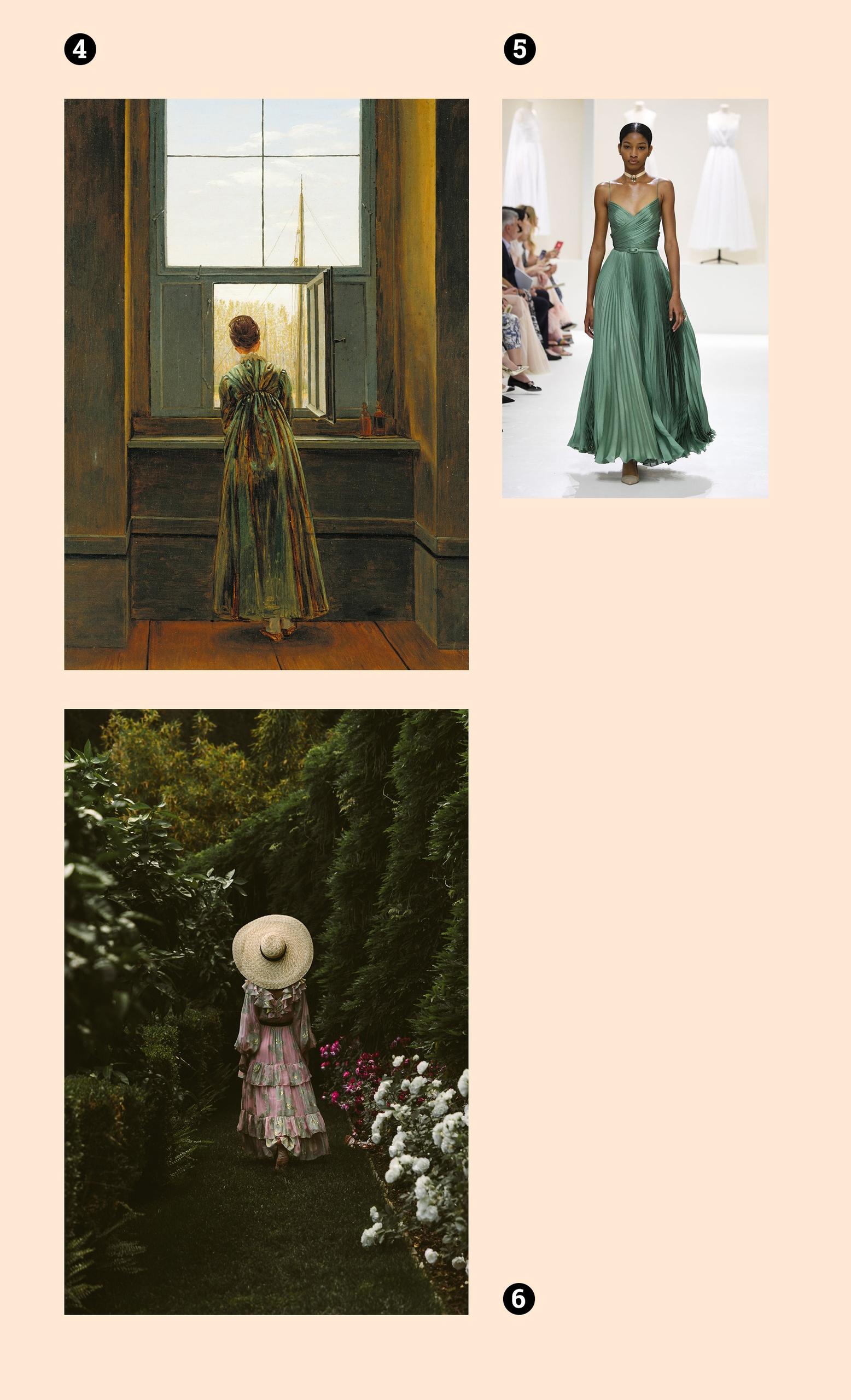 Obraz przedstawia dwie fotografie kobiecej sylwetki, oraz jeden obraz znanego artysty. Całość na jasno-beżowym tle.