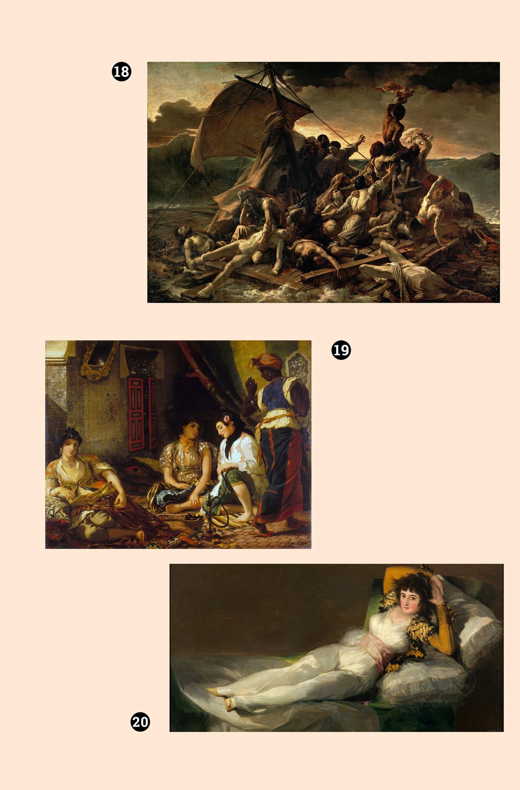Obraz przedstawia trzy dzieła sztuki na jasnym tle.