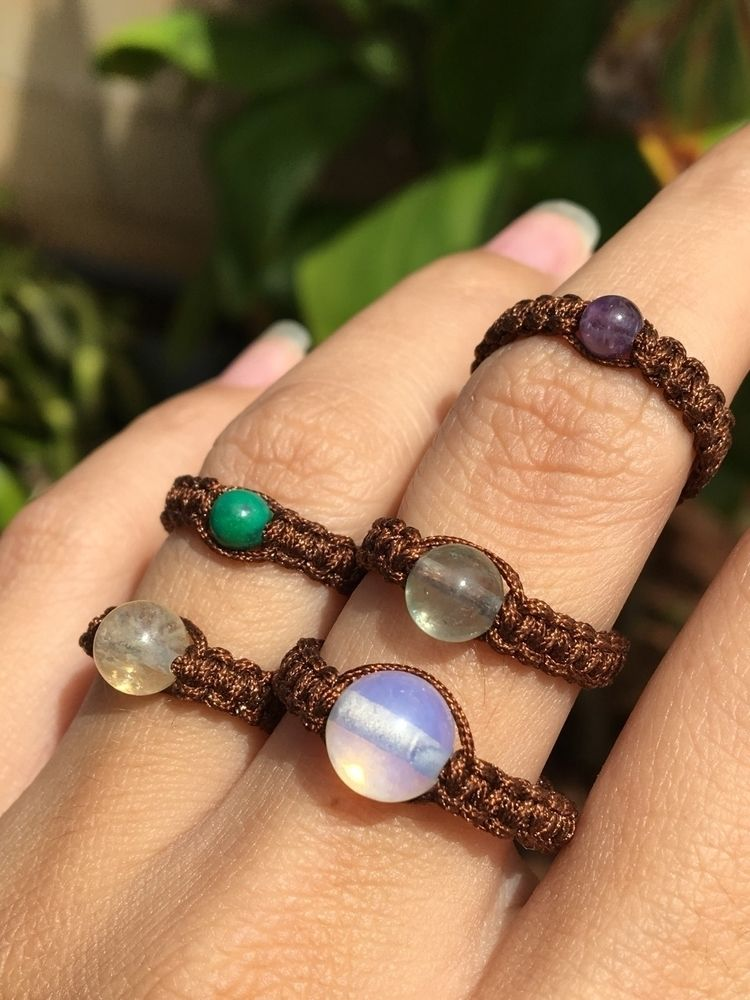 Simple macramé rings $10 free s - kcscreationz | ello