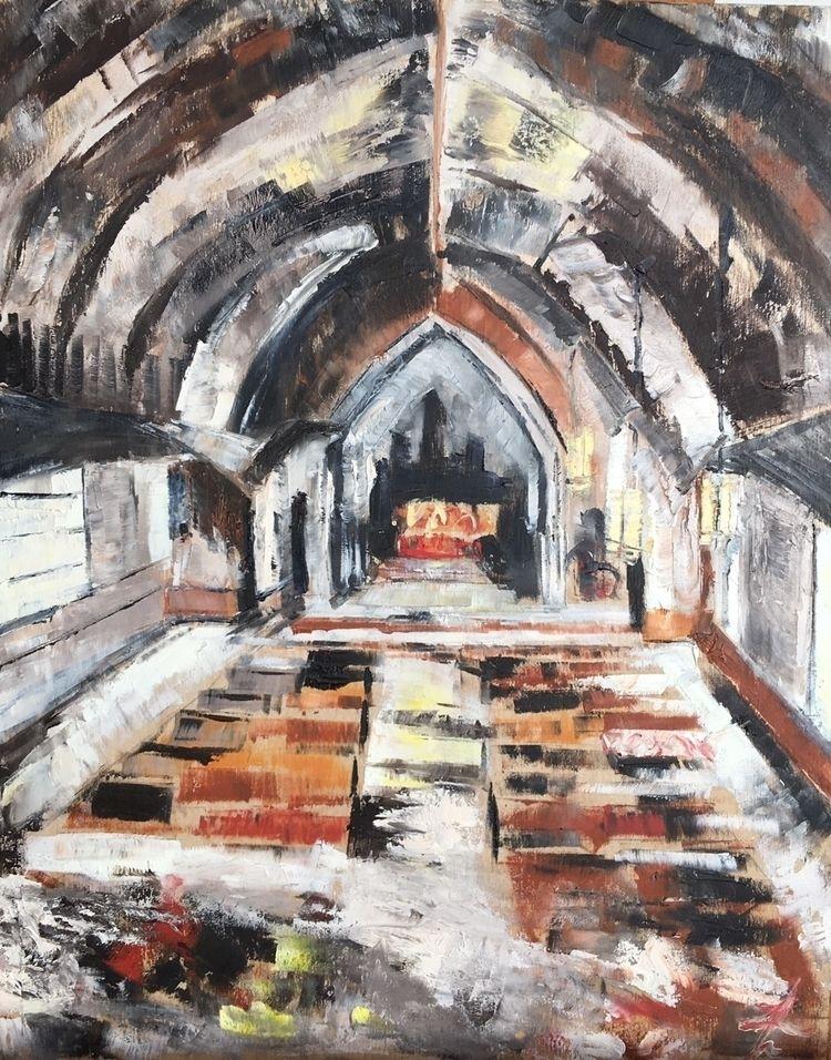 "Church"" Oil wood panel, 12x12 U - zacaffeine | ello"