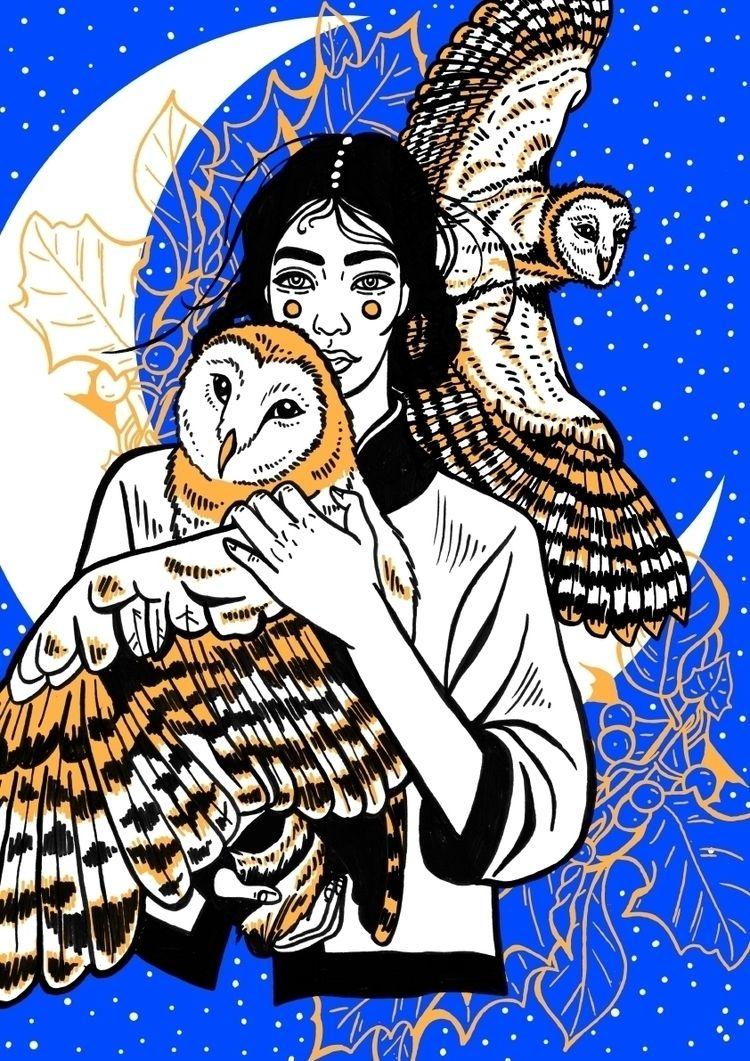 OWLS AWAKE  - illustration, safuone - safu_one | ello