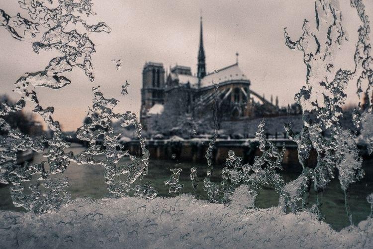 snows spire roof Notre-Dame de  - yolenelee | ello