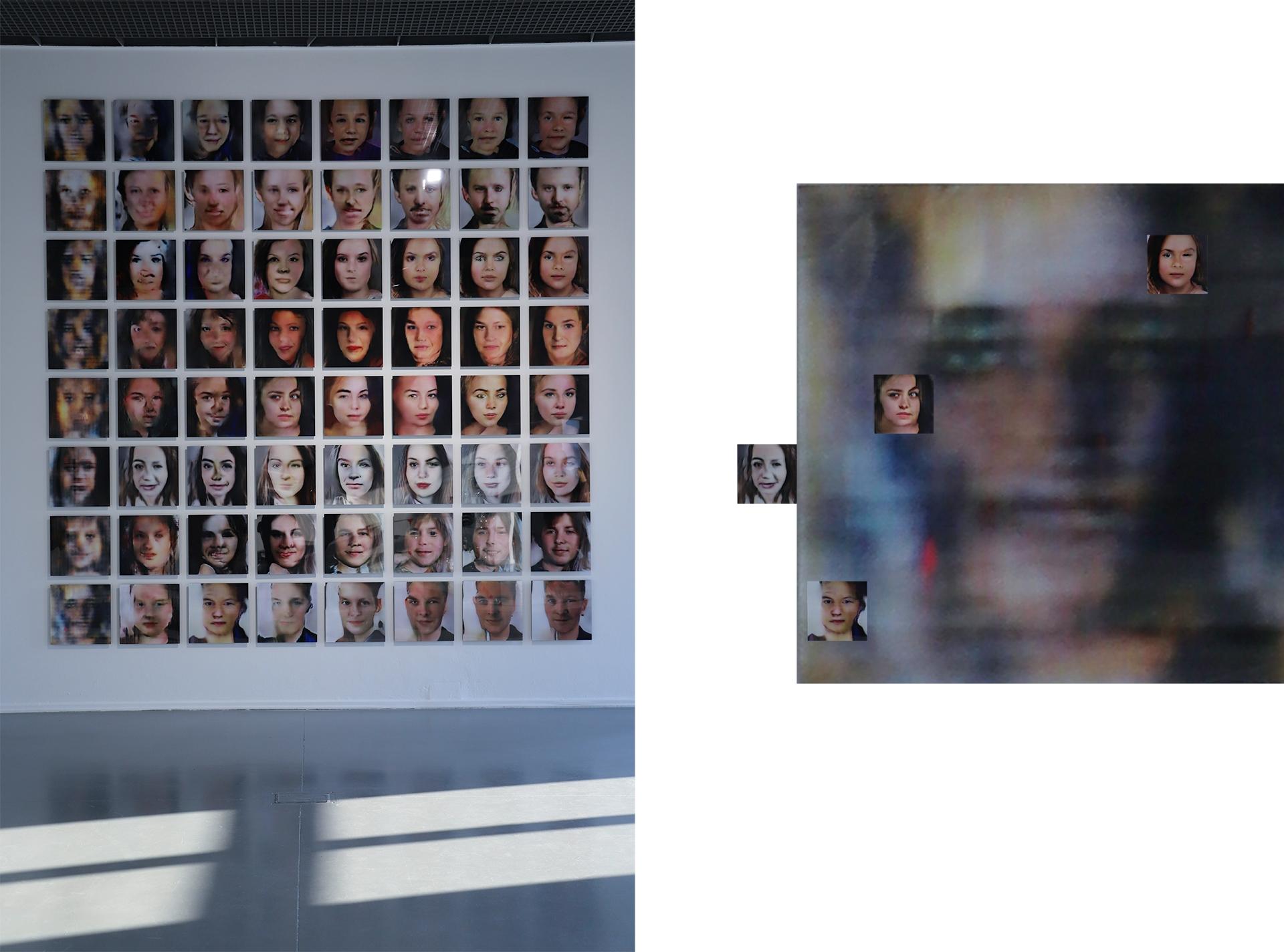 Obraz przedstawia zdjęcie ściany, na której umieszczone są portrety ludzi.