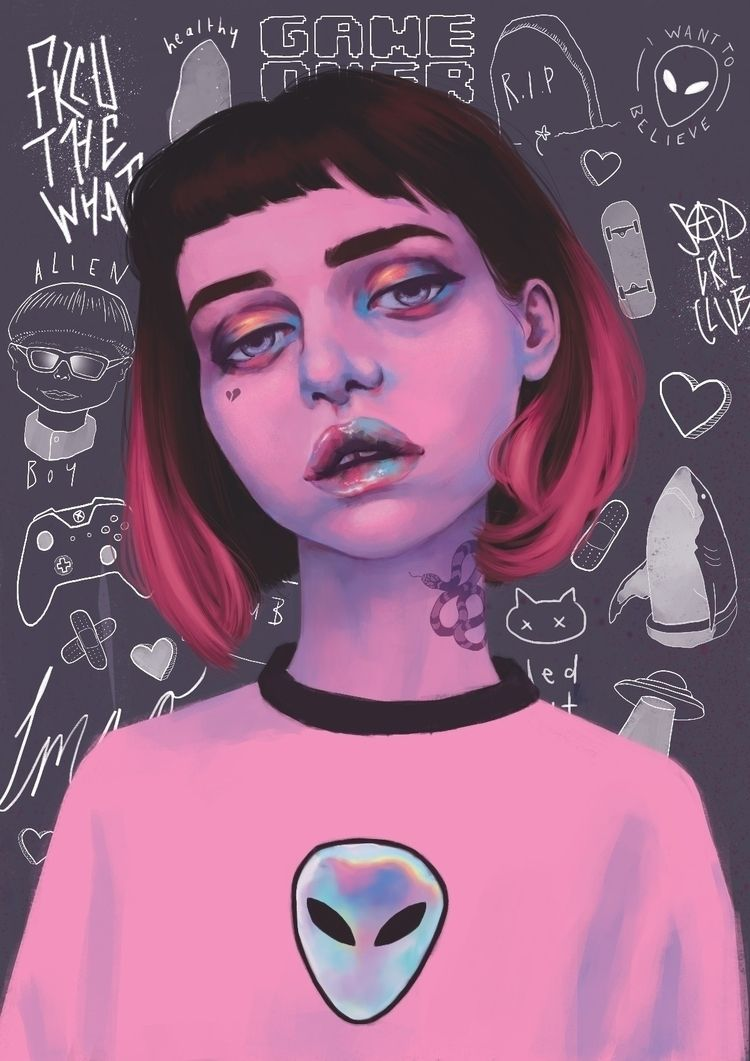 Alien grl - illustration, digitalart - artbynatasharossouw   ello