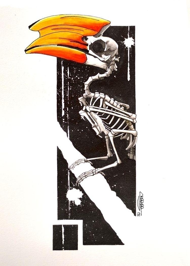 Hornbill skeleton, Skeenee, Fou - skeenee   ello