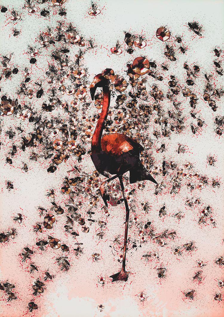 Bloody Flamingo - 30 42 cm - watercolor - matthaugusto | ello