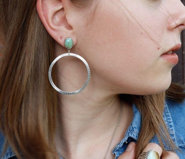 Turquoise studded hoops - sharonrenejewelry - srjewelry | ello