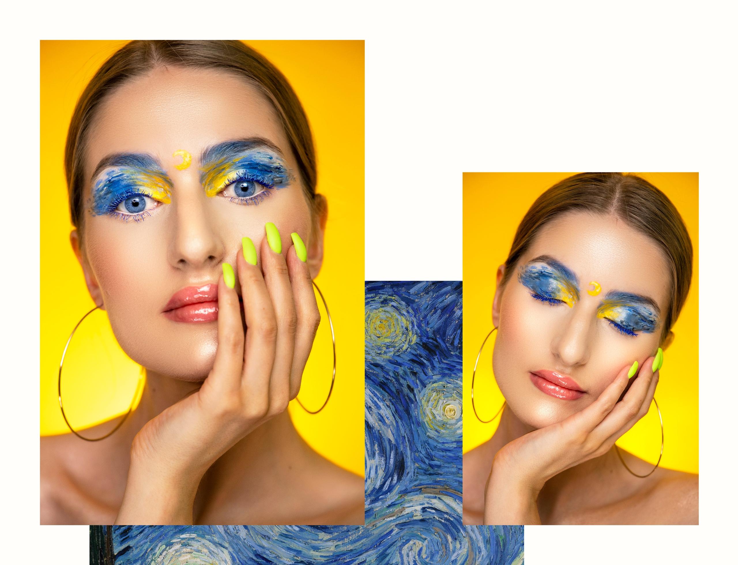 Obraz przedstawia dwa zdjęcia portretowe kobiety w artystycznym makijażu na żółtym tle. Całość na białym tle z elementem niebieskiego obrazu.