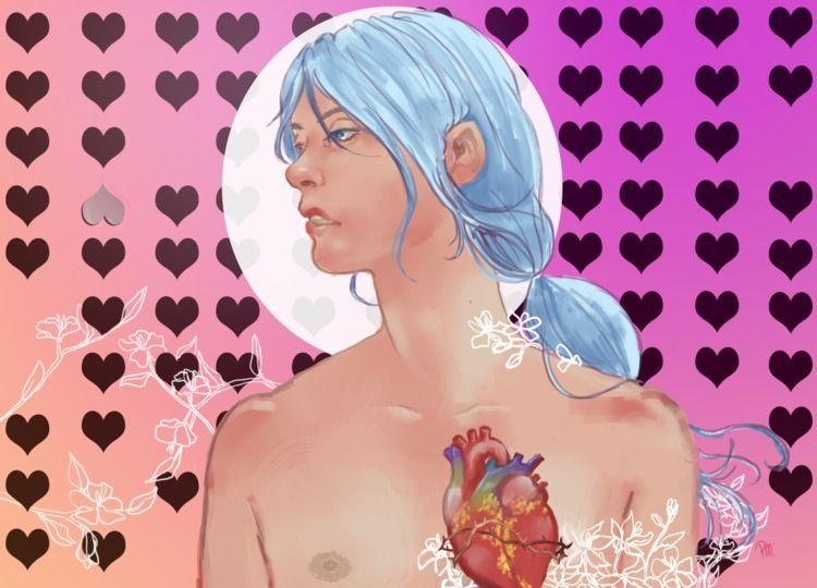 heart blooming - illustration, digitalart - paltamayo | ello