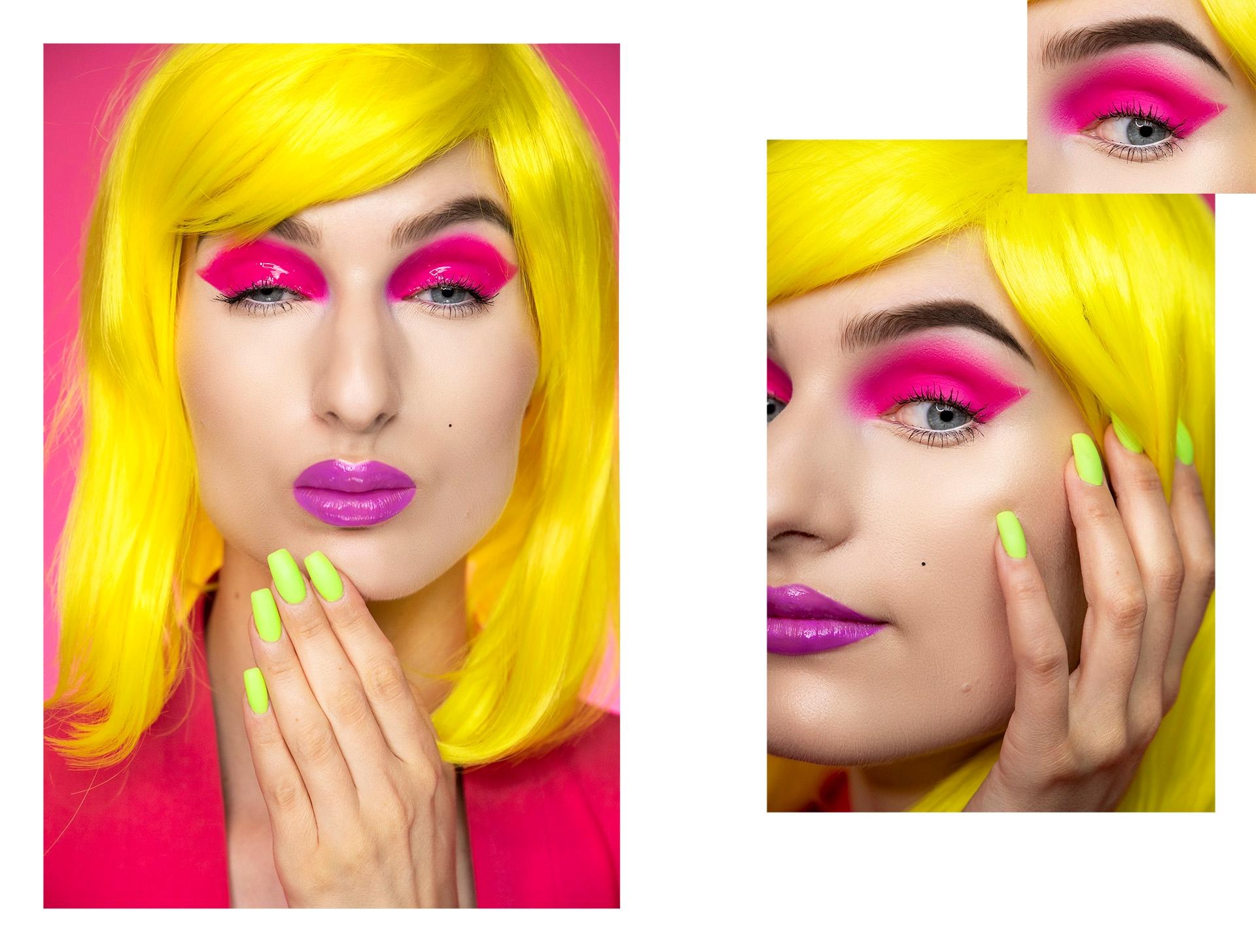 Obraz przedstawia zdjęcia kobiety w intensywnym makijażu i żółtych włosach. Małe zdjęcie w prawym górnym rogu ukazuje zbliżenie na oko.