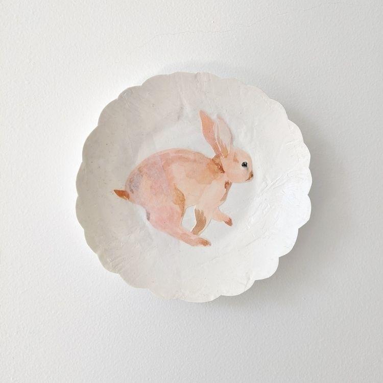watercolor bunny collage paper  - jennyronen | ello
